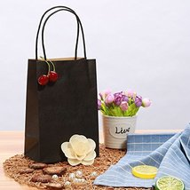 Road 5.25 x 3.25 x 8 Inches 100pcs Black Kraft Paper Bags with Handle, Shopping  image 7