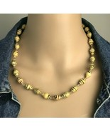 """Vintage Hand Crafted Recycled Paper Tribal Bead Necklace 20"""" - €14,08 EUR"""