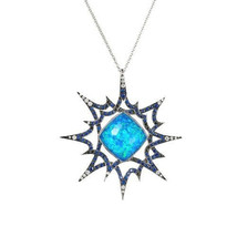 Sterling Silver Genuine Opal Blue Sapphire Natural Diamond Pave Gemstone... - $374.00