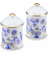 DOLLHOUSE Large Canister Set 1.481/5 Reutter Porcelain Blue Onion Miniature - $14.36
