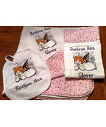 ANGEL LOVE  in Blue or Pink Layette Set --Bib, Burp Cloth, and Receiving... - $29.99