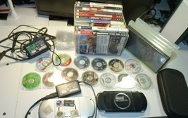 Sony PlayStation (2)-PSP w/ 23 Games/Movies-Silver Good/Black Read Issue... - $225.00
