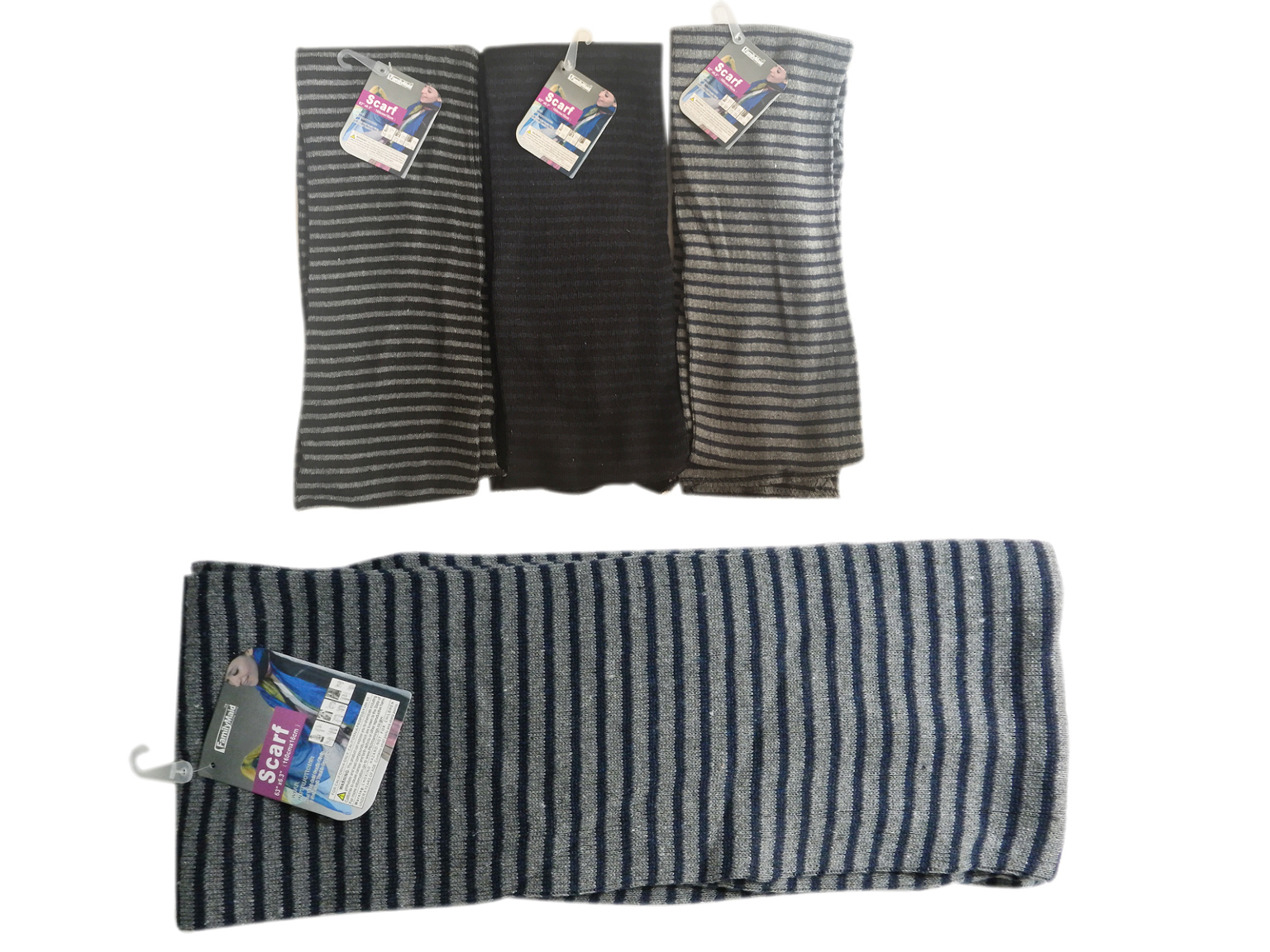 Case of [12] Adult Winter Scarves - Assorted Stripes