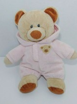 Ty tylux Pluffies tan Bear Pink attached hooded pajamas plush Love to Ba... - $9.89
