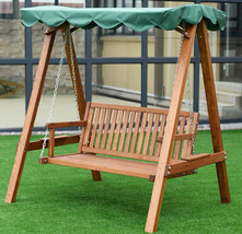 Swing With Canopy Hanging Porch Bench Wood Stand Patio Glider 2 Seater L... - $330.00