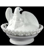"""Westmoreland Milk Glass Eagle On Dancing Sailor Lacy Base 8""""l Covered Dish - $149.99"""