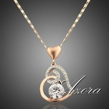Women Love Heart Chain Necklace Crystal 18K Rose Gold Plated Swarovski F... - $34.90