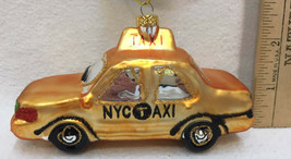NYC Taxi Cab Glass Ornament Colorful Christmas Glitter Car Gold Holiday - $14.84