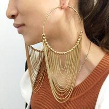 Fashion Circular Metal Long Tassel Hoop Earrings - $15.99