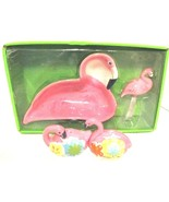 PINK FLAMINGO BOWL WITH SPREADER / SALT & PEPPER SHAKERS - $39.99