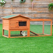 Two-Story Wooden Rabbit Hutch Pet House with Tray - $187.45