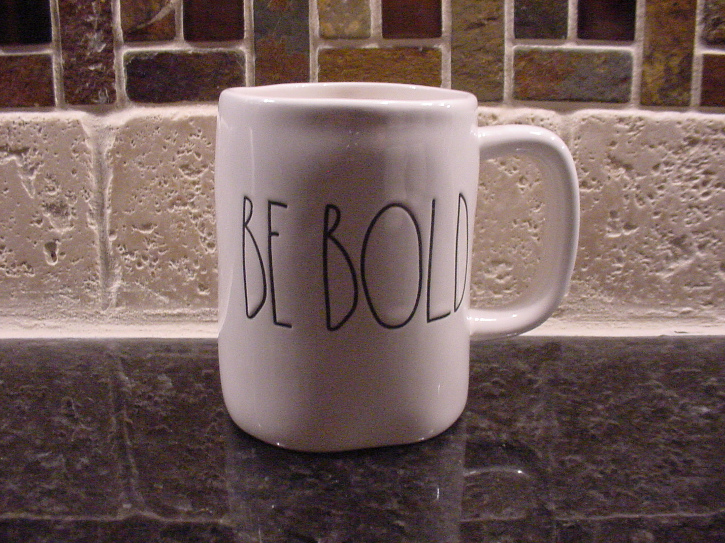 Rae Dunn BE BOLD Mug, Ivory with Black Lettering