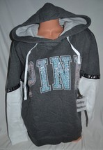 Victoria's Secret PINK Gray White Sequin Bling Campus Tunic Pullover Hoo... - $89.99