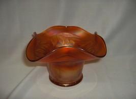 Vintage Fenton Marigold  Carnival Glass Blackberry Spray Hat Bowl Vase  RARE - $34.65