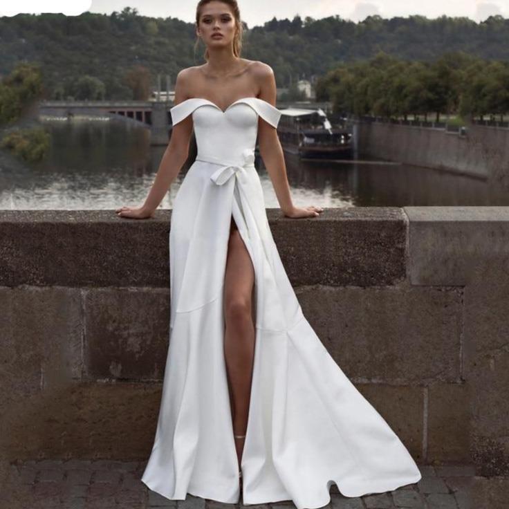 Lorie princess wedding dress a line satin high split bride dresses off the shoulder boho wedding