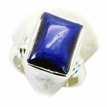 Natural Lapis Lazuli Square 925 Silver Ring Astrology Gemstone Jewelry S... - $27.23