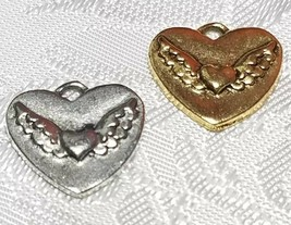 HEART WITH WINGS FINE PEWTER PENDANT CHARM - 14.5mm L x 13.5mm W x 1.5mm