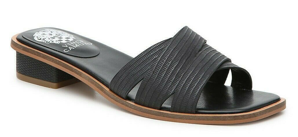 Primary image for Vince Camuto Yedelle Leather Slip On Sandals, Multiple Sizes Black VC-YEDELLE