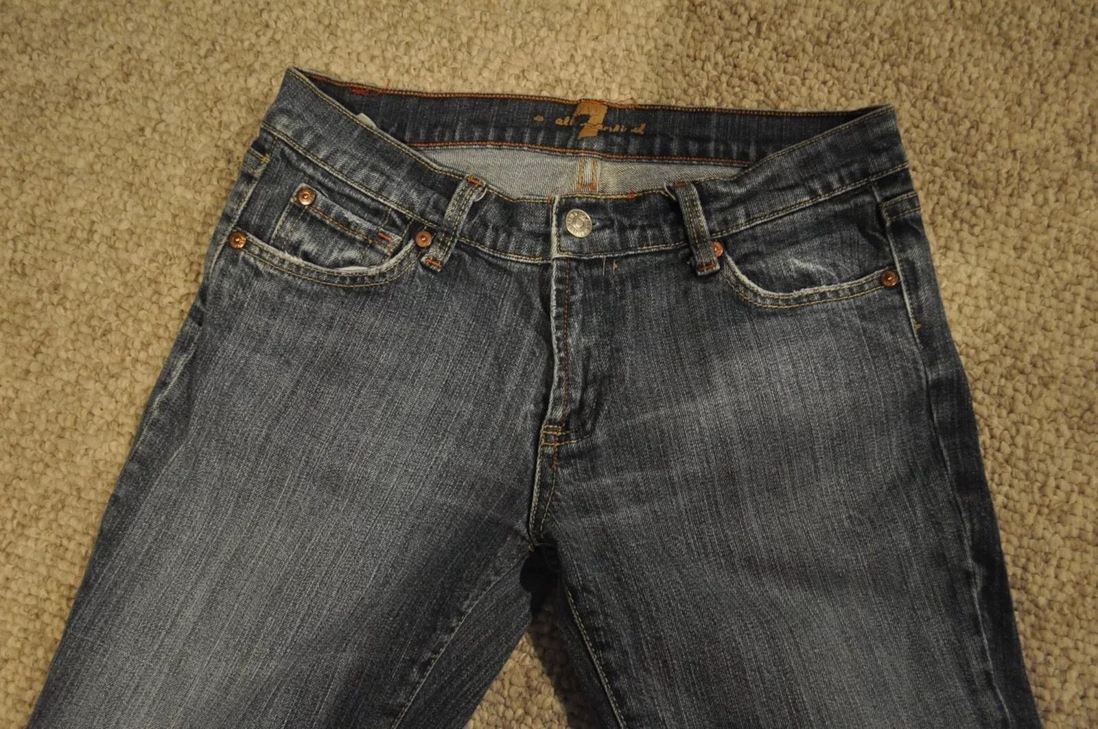 Women's 7 for All Man Kind Jeans Medium Wash Straight Leg 28
