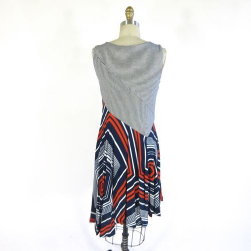 S - MAEVE Anthropologie Red White Navy Sleeveless Cameron Dress 0000MB
