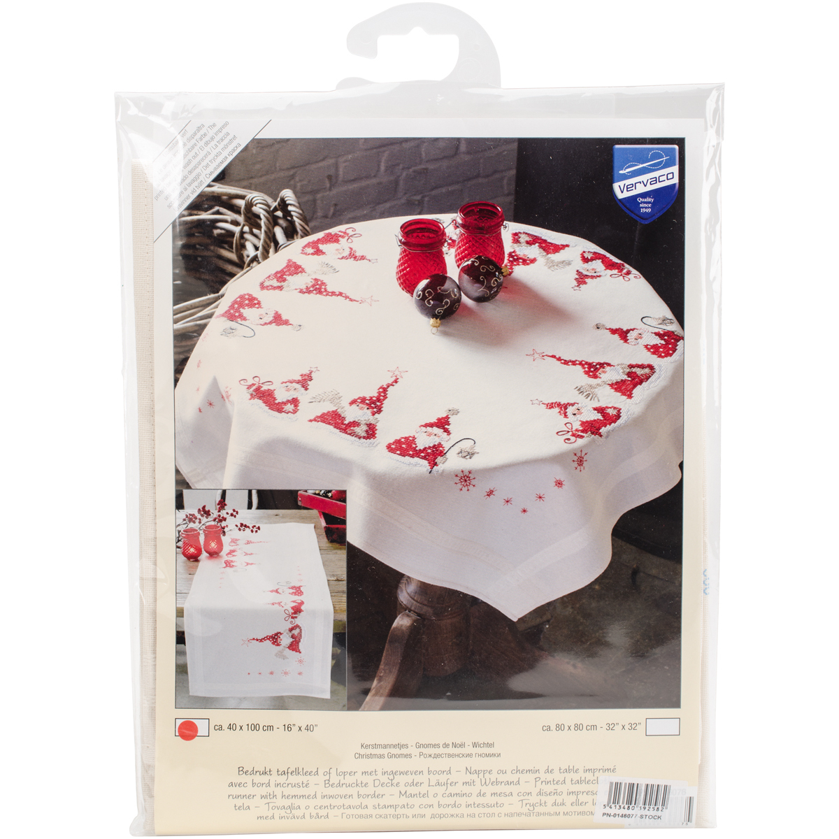 "Primary image for Vervaco Table Runner Stamped Embroidery Kit 16""X40""-Gnomes Christmas"