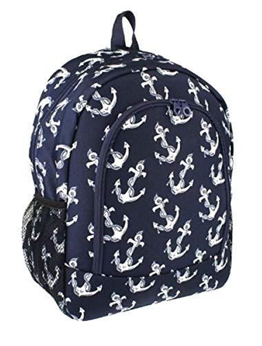 "Nautical Anchor Print 16"" School Travel Backpack Navy Blue"