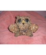 Very Cute Vintage Wise Old Owl Ceramic Figurine Glasses Signed - $24.75