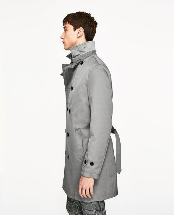 8fa99377 Bnwt Zara Man Mink Gray Trench Coat S.S,M and 50 similar items