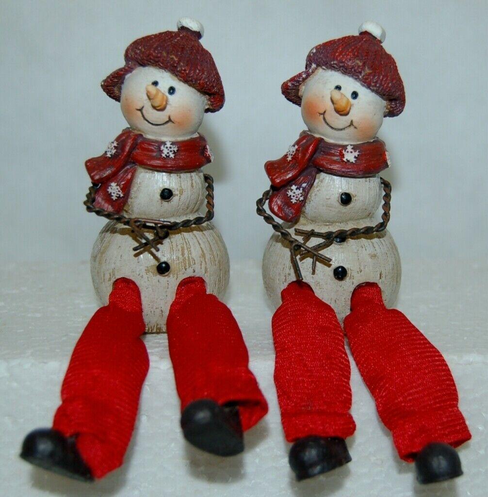 Delton Products 5007 4 Fine Collectibles Snowman Shelf Sitter 2 Set Red Scarf