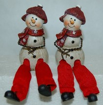Delton Products 5007 4 Fine Collectibles Snowman Shelf Sitter 2 Set Red Scarf image 1