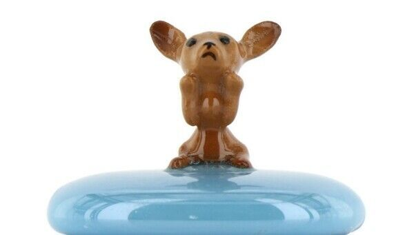 Stepping Stones Fairy Garden Terrarium Miniature Dog Chihuahua Pup on Turquoise