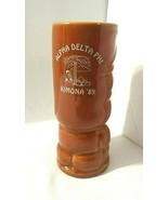 Vtg Tiki Tumbler Mug Alpha Delta Phi Fraternity Event Kimona 1989 Made i... - $30.19