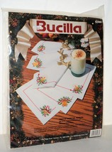 Bucilla 6 Festive Cocktail Napkins Stamped Embroidery Christmas Kit 82986 New - $17.99