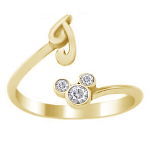 Primary image for Yellow Gold Plated Pure 925 Silver Diamond Disney Mickey Mouse Initial J Ring