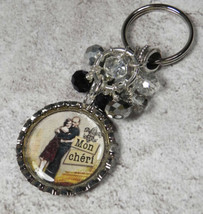 Mon Cheri Crystal Beaded Handmade Bottle Cap Keychain Split Key Ring New - $14.54