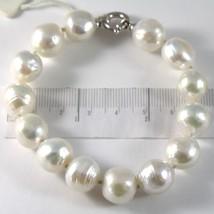 Armband Weiß Gold 750 18K, Strang Perlen Weiß Durchmesser 12 mm, Lang 20 CM - $418.17
