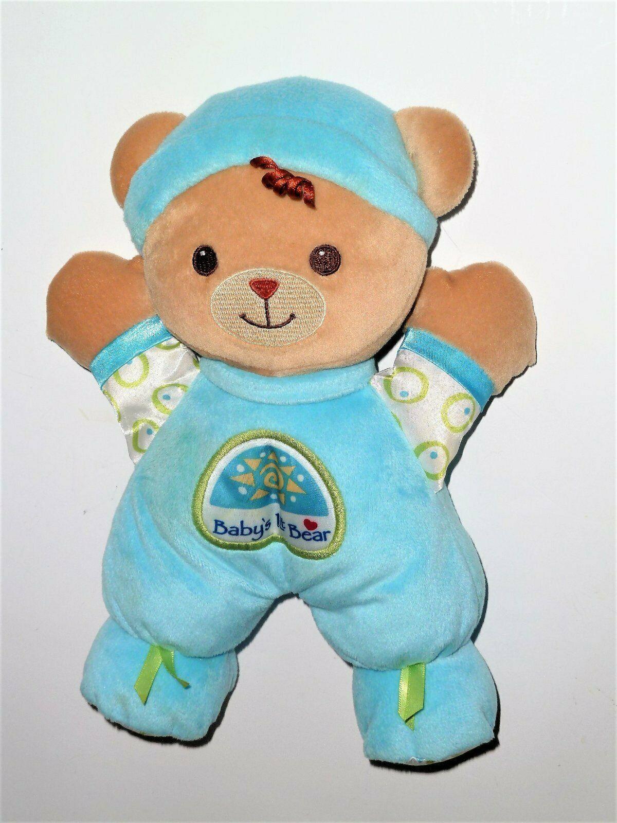 "FISHER PRICE BABY'S 1ST BEAR RATTLE DOLL AQUA BLUE 11"" - $6.97"