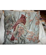 "Winter Scene Tapestry pillow 16.5"" x 16.5"" with beautiful cardinal - $11.50"