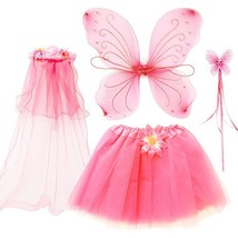 fedio 4Pcs Girls Princess Fairy Costume Set with Wings, Tutu, Wand and F... - $18.69