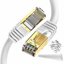 Ethernet Cable White 50 ft Cat 8 Zosion RJ45 Network Patch Cable 40Gbps 2000Mhz