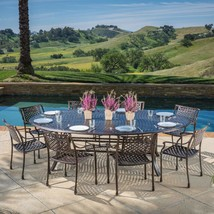 Large Round Dining Table With Chairs Set 9 Piece Cast Aluminum Patio Fur... - $3,599.00