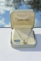 Vintage Albert Weiss Rhinestone Heart Necklace Rhodium Finish In Orig Box - $18.66