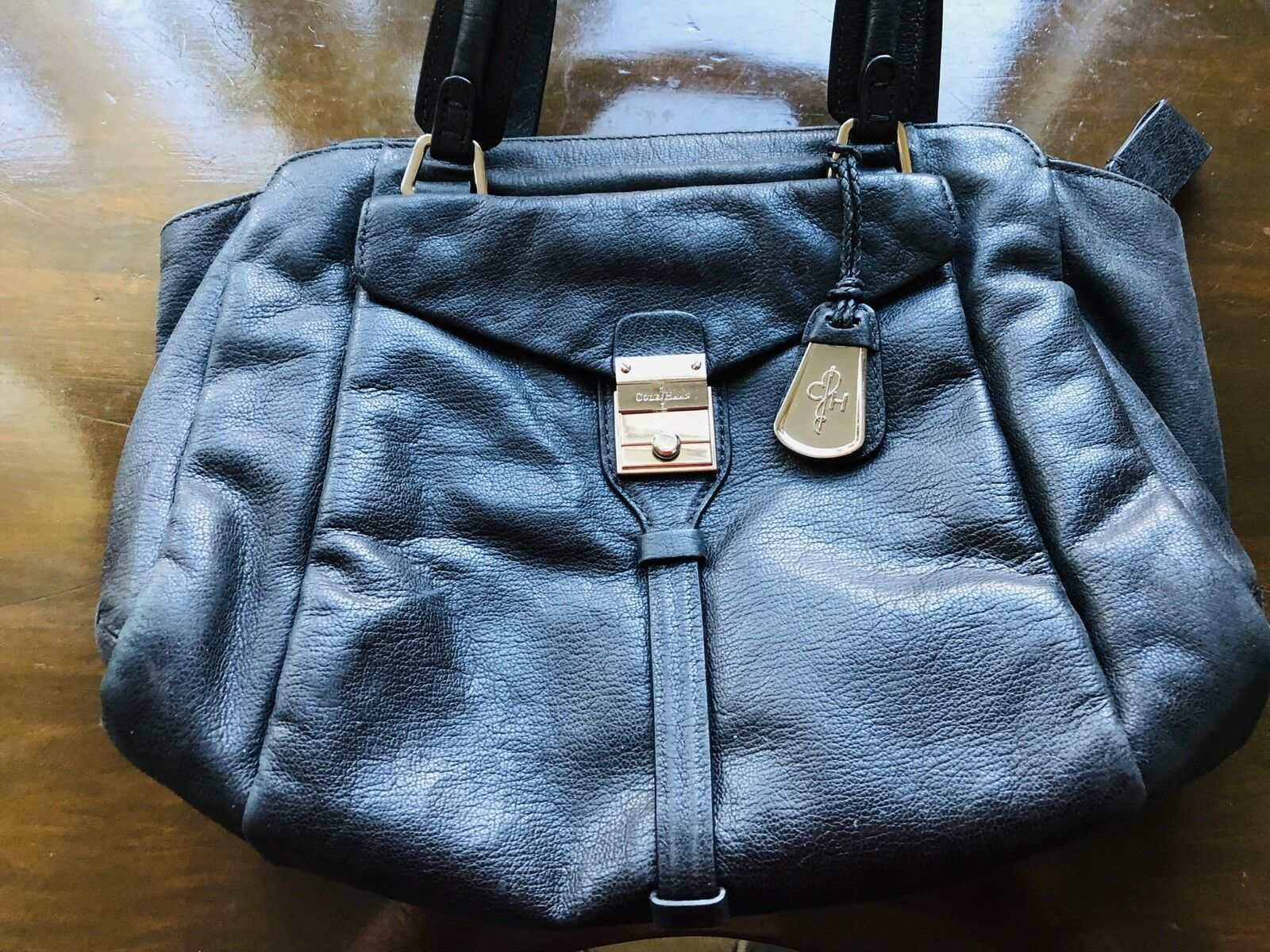 e8c75eb669f 57. 57. Previous. Cole Haan Black Pebbled Leather Med Satchel, Handbag,Purse.  Cole Haan Black Pebbled ...