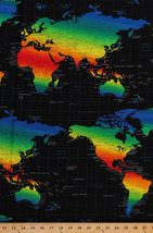 Cotton Map Rainbow Continents Travel Cotton Fabric Print by the Yard D76... - $11.49