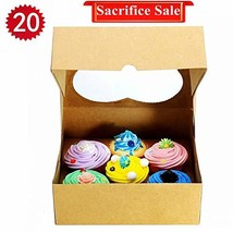 RomanticBaking 6 Cupcake Boxes,20 Pack Heart-shaped Brown Kraft Bakery C... - $15.52