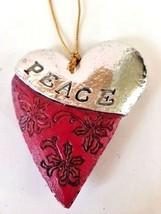 Peace Ornament Heart Shape Shiny Silver Metal Resin Country Christmas Co... - $24.24