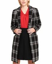 New Tommy Hilfiger Women's Open Front Plaid Coat Black Multi Size 12 - $128.69