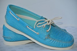 NEW Sperry Top Sider Womens Sz 10 M Blue Python Print Snake Boat Shoes $150 - $49.49
