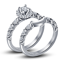 14k White Gold Finish 925 Silver Round Cut Sim Diamond Bridal Wedding Ring Set - $74.05
