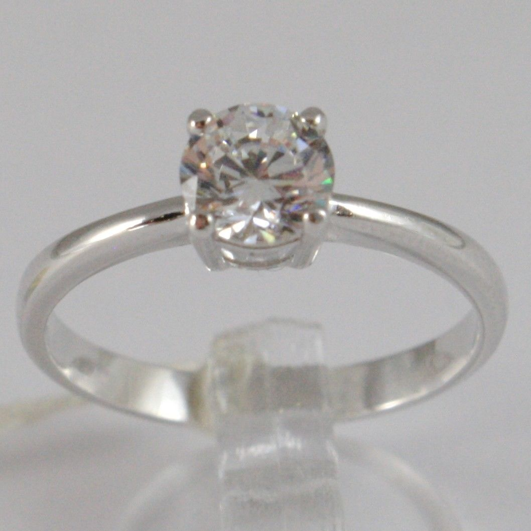 WHITE GOLD RING 750 18K, SOLITAIRE ZIRCON CUBIC CT 0.77, MADE IN ITALY